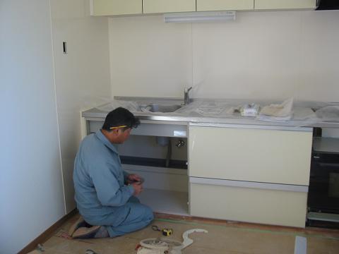 キッチン水道器具取り付け